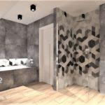 15 - projekt łazienki mozajka beton w domu - Wnętrza Toruń Chełmno Ciechocinek