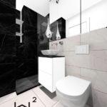 19 - łazienka biel i czerń- projekt i aranżacja - Wnętrza Toruń Chełmno Ciechocinek