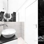 21 - projektowanie i aranżacja łazienki biel czerń kamien naturalny - Wnętrza Toruń Chełmno Ciechocinek