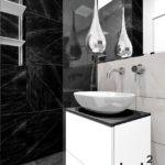 22 - projekt i aranżacja łazienki biało czarnej - Wnętrza Toruń Chełmno Ciechocinek