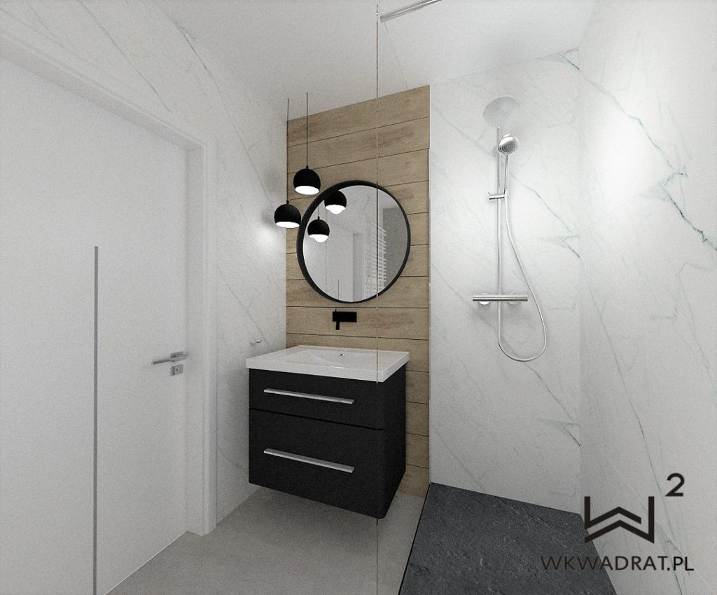 40 - projektowanie łazienki drewno i calacatta Wnętrza Toruń Chełmno Ciechocinek