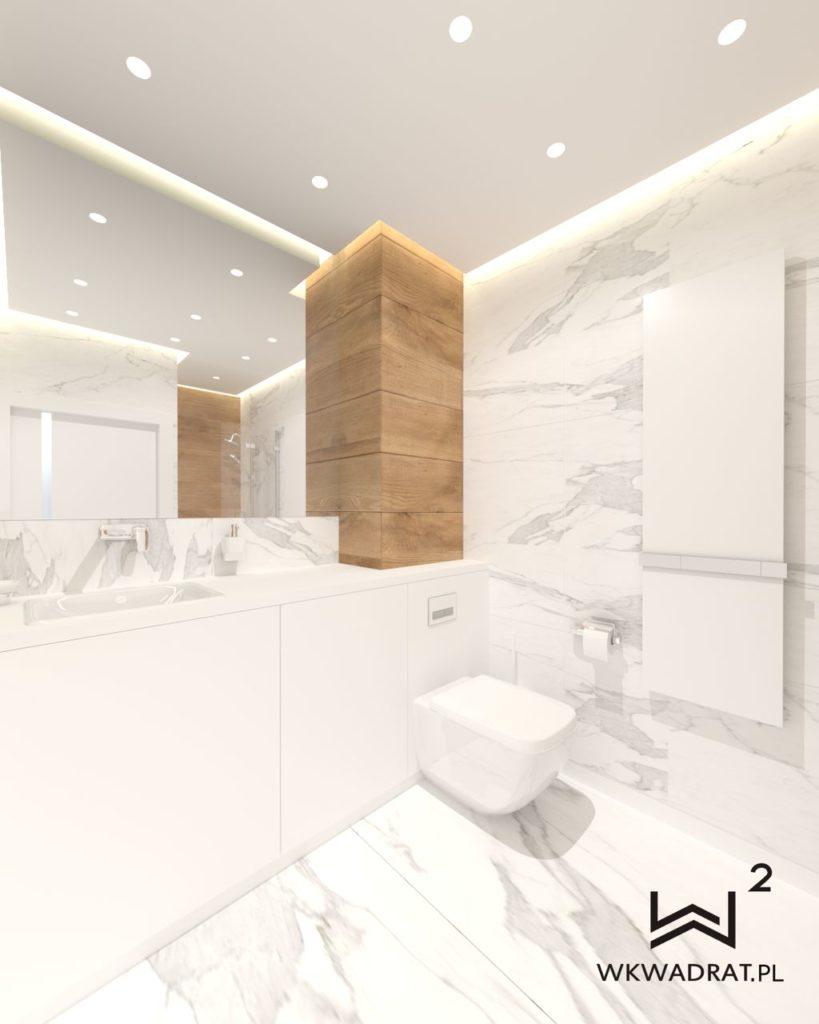 44 - projekt łazienki calacatta biel i drewno Wnętrza Toruń Chełmno Ciechocinek