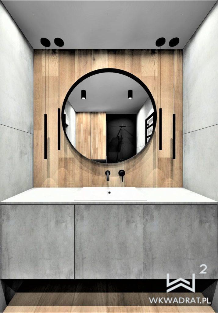 55 - projekt i aranżacja łazienki w drewno beton - Wnętrza Toruń Ciechocinek Chełmno