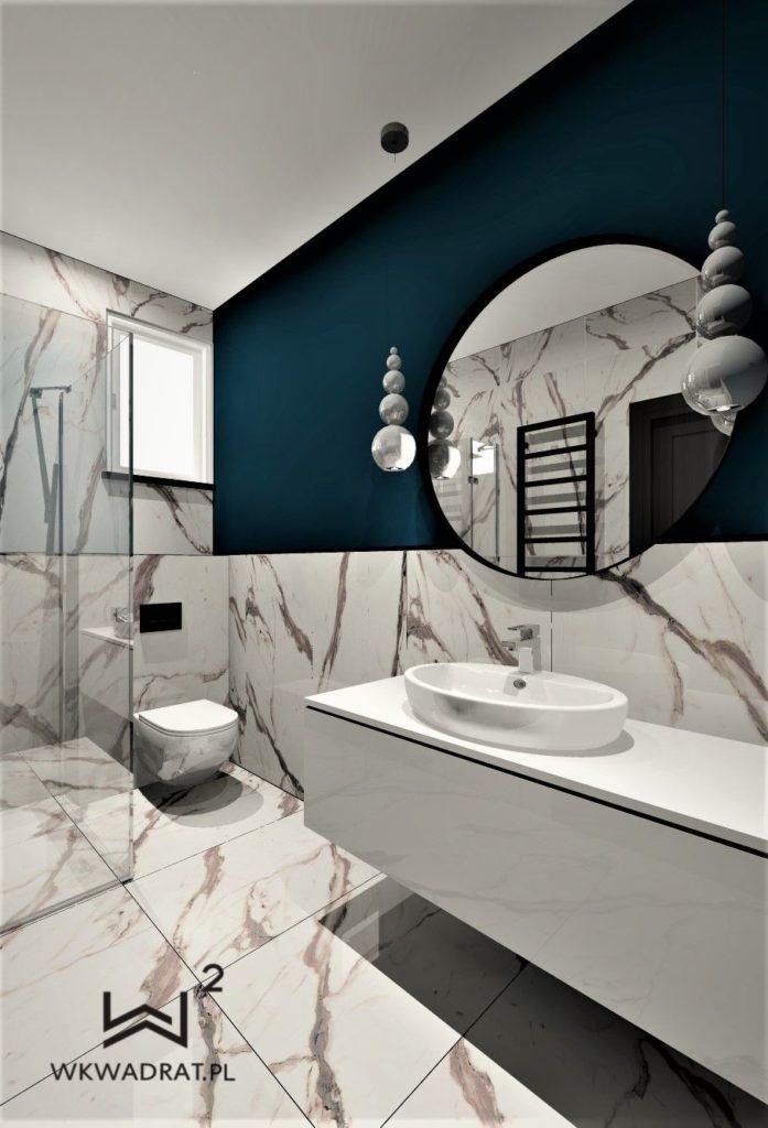 83 - projektowanie łazienki z architektem wnętrz turkus i calacatta - Wnętrza Toruń Ciechcinek Chełmno