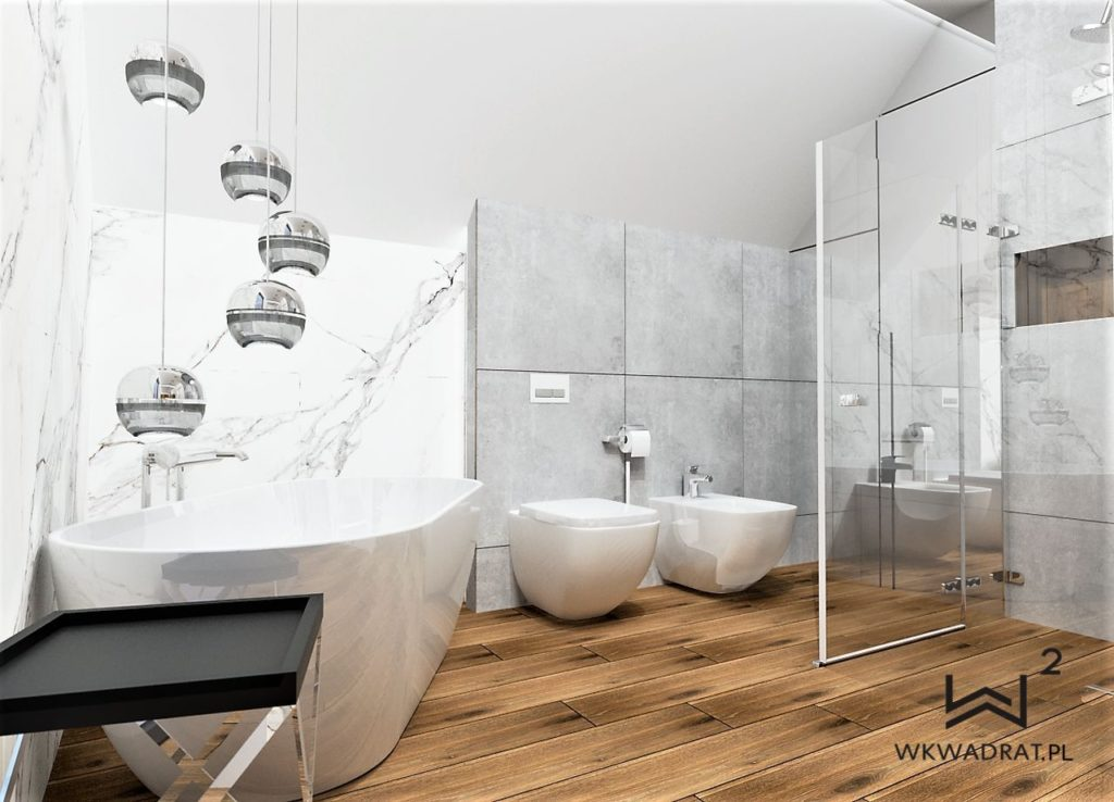 84 projekt łazienki beton calacatta drewno