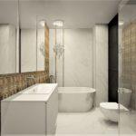 84 - projekt łazienki złoto kamien naturalny - Wnętrza Toruń Ciechocinek Chełmno