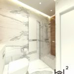84 - projektowanie łązienki beton biel i calacatta - Wnętrza Toruń Ciechocinek Chełmno